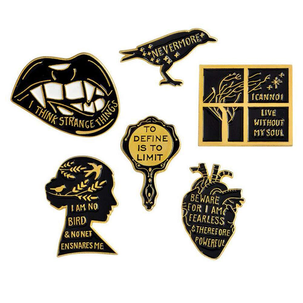 Udolove Women Enamel Lapel Pin Set Badge Pins for Girls Jackets Backpacks Jewelry (human mind set of 6) by Udolove (Image #1)