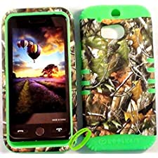 Cellphone Trendz Heavy Duty High Impact Hybrid Rocker Case Cover for HTC One M8 – Lime Green Silicone With Hunter Series Camo Mossy Green Leaves Hard Case