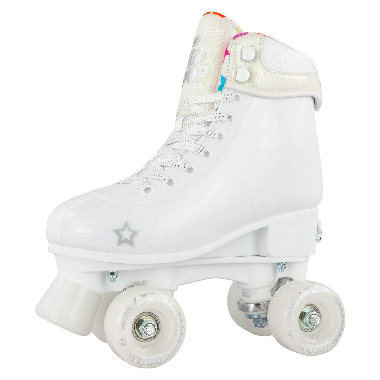Crazy Skates Glitter POP Adjustable Roller Skates for Girls and Boys | Size Adjustable Quad Skates That Fit 4 Shoe Sizes | White (Sizes jr12-2) by Crazy Skates (Image #1)