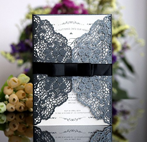 Better-way 100pcs Laser Cut Wedding Invitations with Lace and Hollow Out Design, Invitations Card with Ribbon for Wedding Baby Shower Engagement Birthday Party (Black)