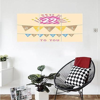 Amazoncom Liguo88 Custom canvas 22nd Birthday Decorations Happy