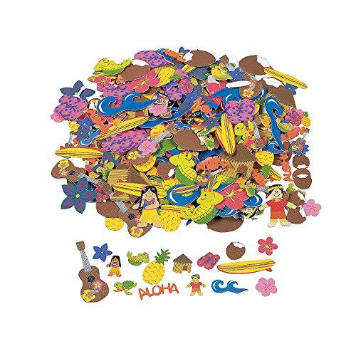 Fun Express - Fabulous Foam Adhesive Luau Foam Shapes - Craft Supplies - Foam Shapes - Regular - 500 Pieces ()
