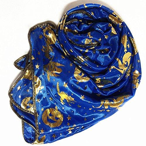 MOKO-PP Women Halloween Pumpkin Print Scarf Long Soft Wrap Shawl Stole Pashmina Scarves(blue) -