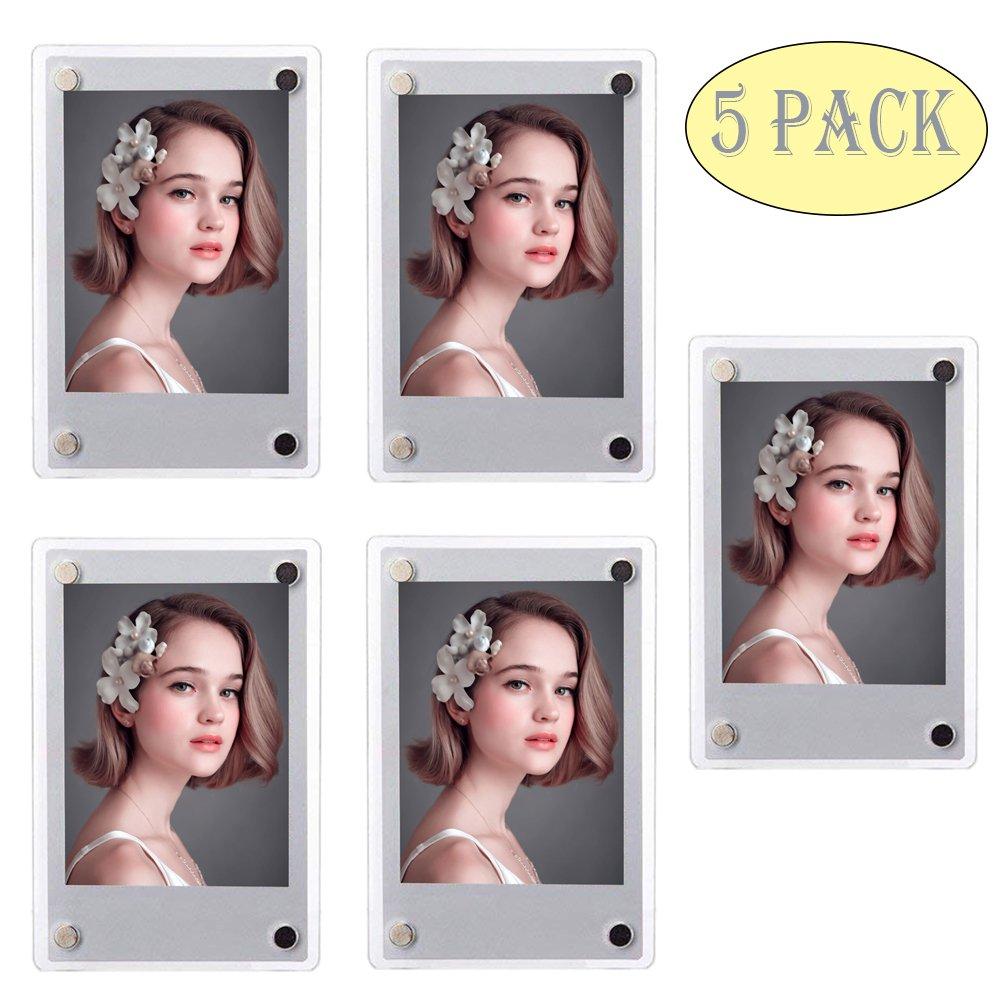 SAIKA Acrylic Fridge Magnetic Double Sided Photo Frame for Fujifilm Instax 9 8 8s 25 26 50s 70 7s 90 Film/Polaroid Instant Film, Clear, Pack of 5 by SAIKA