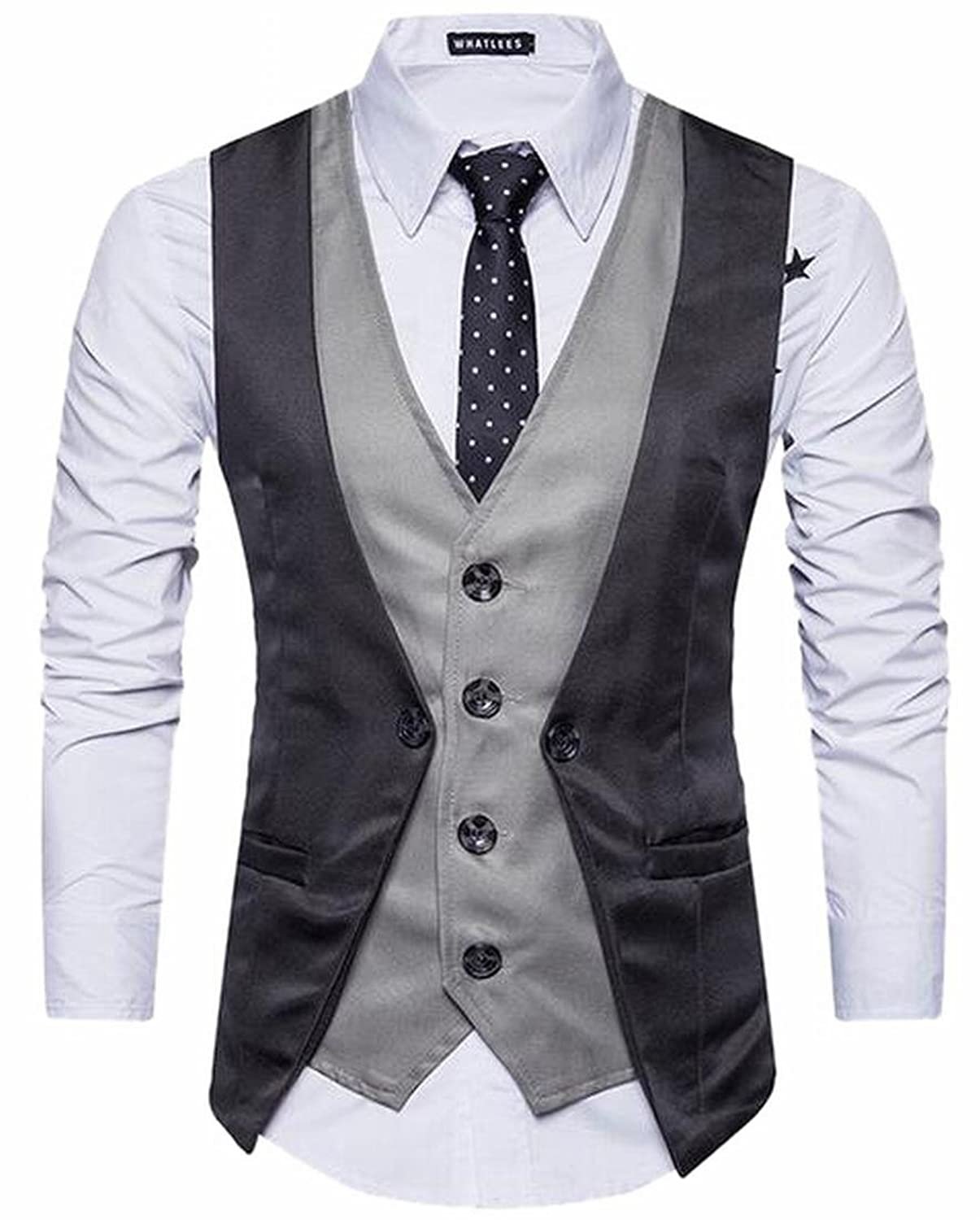 1bef3e702 Jaycargogo Men s Casual V-neck Sleeveless Slim Fit Jacket Business Suit  Vests