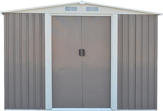 Blitzzauber24 Caseta de jardin metálica cobertizo para herramientas almacenamiento almacén casa invernadero gris+blanco: Amazon.es: Jardín