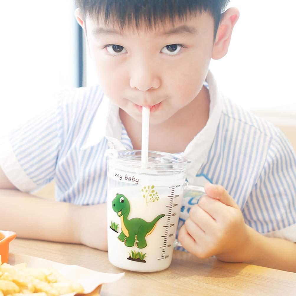 mikrowellengeeignet UPKOCH 1 St/ück Glas Becher mit Strohhalm und Deckel sch/öne Messbecher Dinosaurier gro/ße Kapazit/ät Kinder-Milchbecher mit Skala f/ür Baby Kleinkinder Kinder