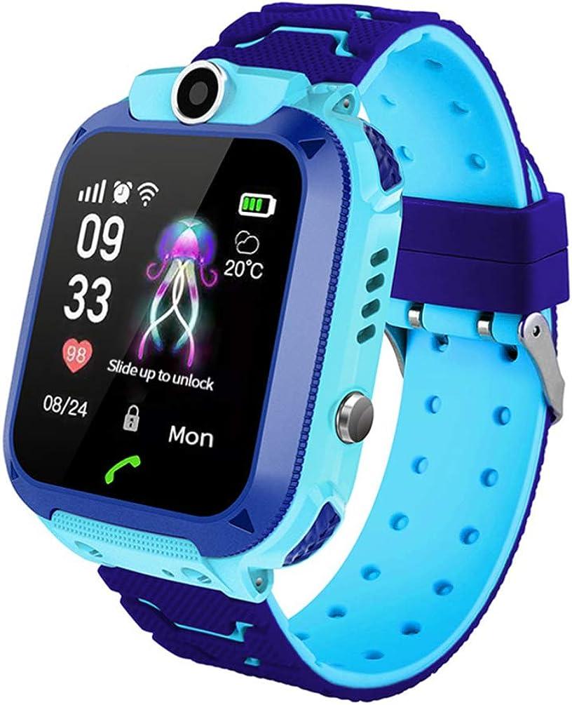 Baluue h12 Reloj Inteligente de Pulsera para niños a Prueba de Agua con Tarjeta sim de Soporte Remoto de cámara GPS para niños (Azul)