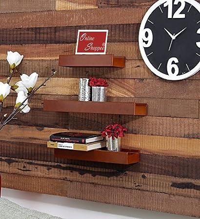 95120306831 Onlineshoppee Beautiful Wooden Brown Rectangular Wooden Wall Shelf Set Of 3