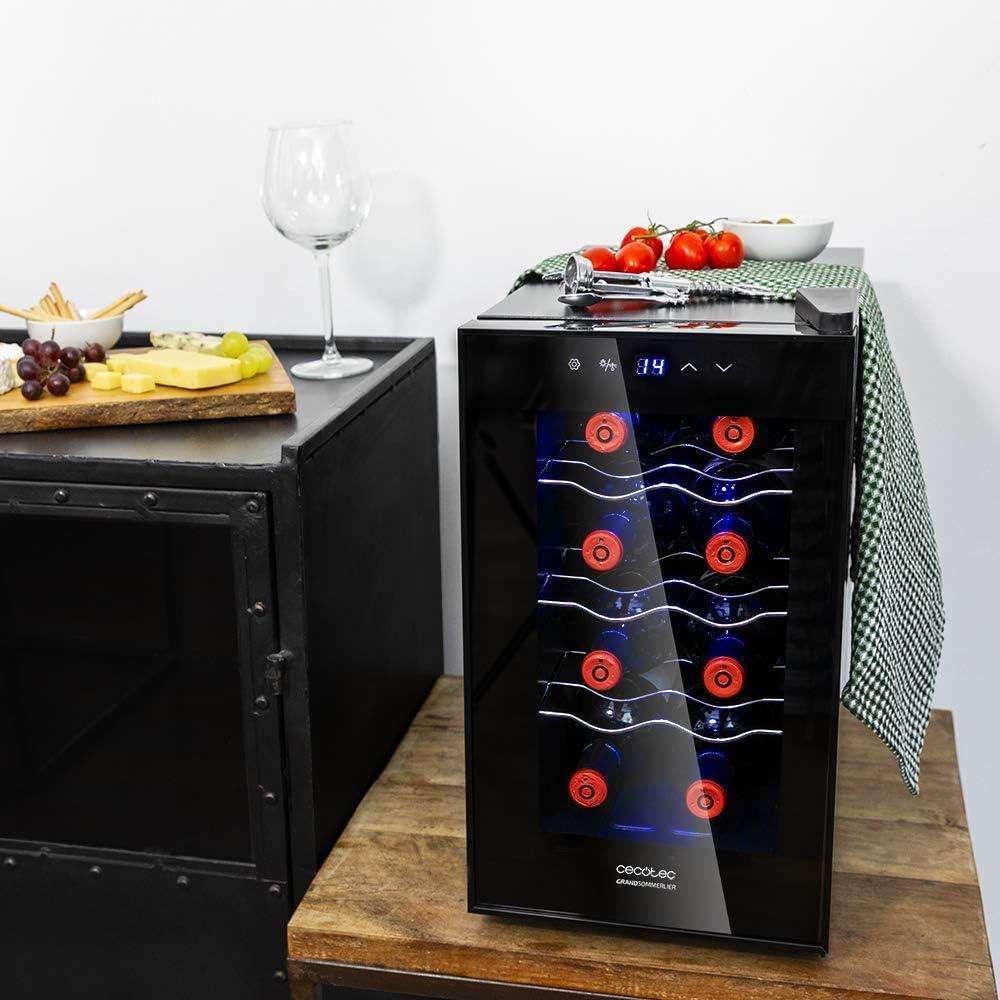 Cecotec Vinoteca de 8 Botellas con Capacidad de 25L. Diseño Puerta ...