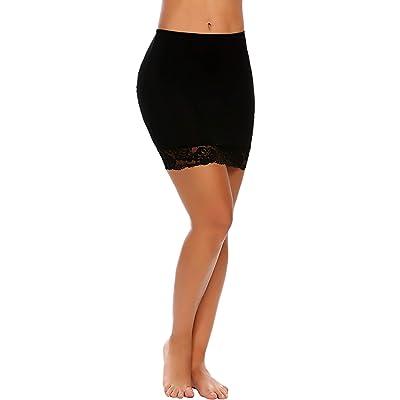 ADOME Women's Adjustable Waist Half Slip Short Underskirt Lace Hem Lingerie at Amazon Women's Clothing store