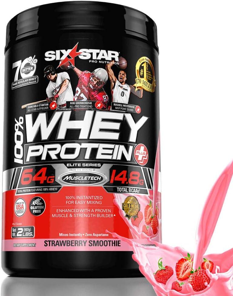 Six Star Elite Series 100 Whey Protein Powder Plus Muscle Builder, 907g Ultra-Pure Whey Protein Powder, Strawberry, 2 Pound
