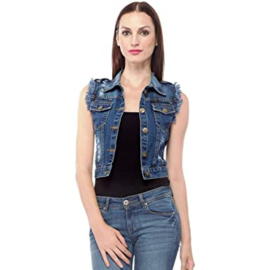 f66bc55dbfe02 Girls Shopping Sleeveless Blue Denim Jacket for Women (Size- Small ...