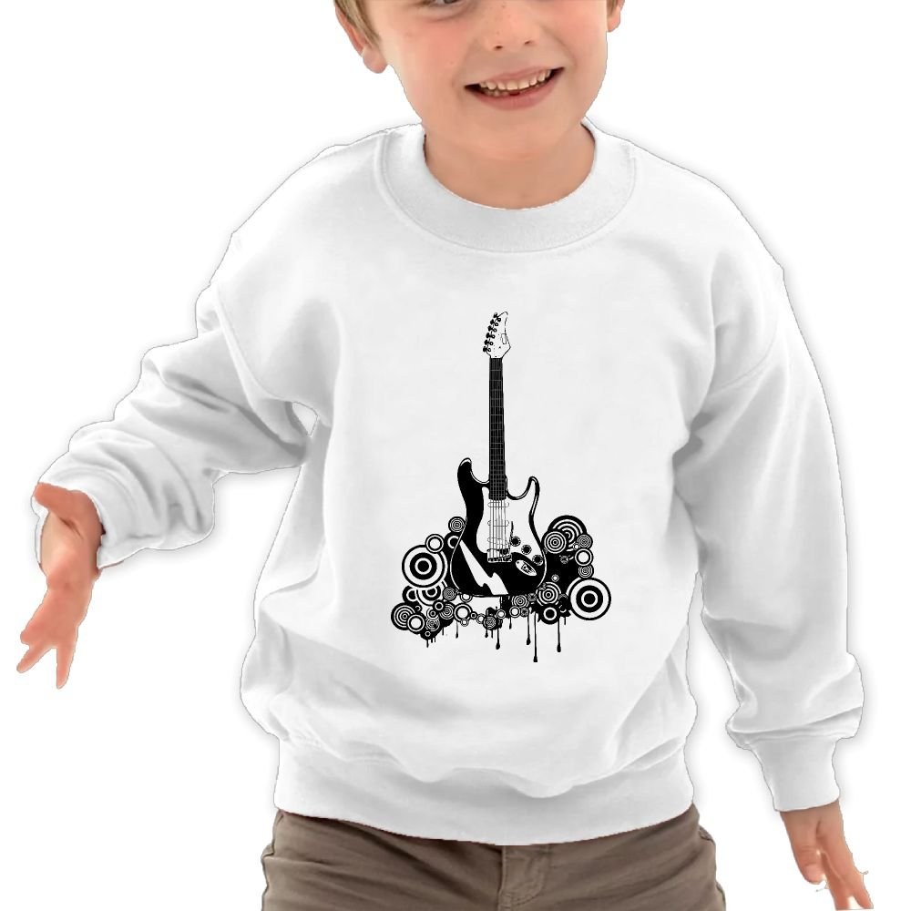 Black and White Guitar Unisex Kids Cotton Fleeces Cool Long Sleeve Clothes