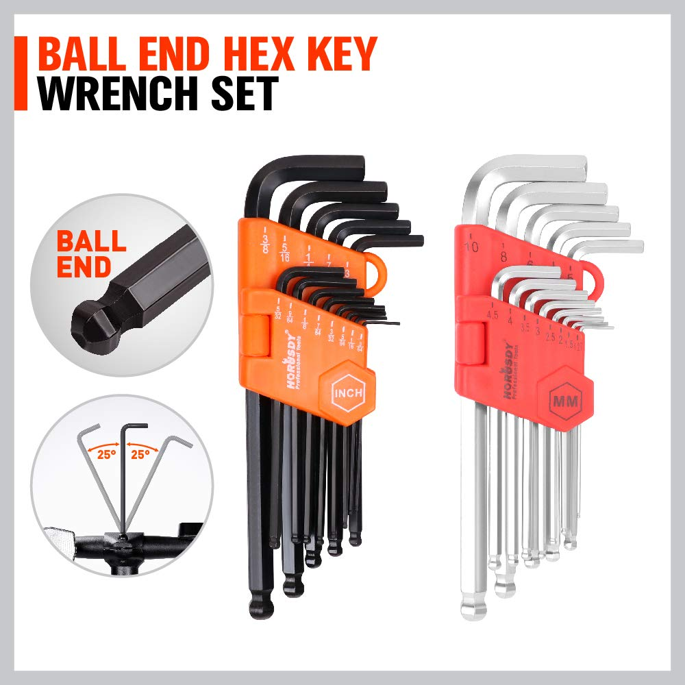 Ratchet wrench set Gear With Organizer Pouch SAE and Metric Ratchet Wrenches Extra gift 26-Piece Allen Wrench Set HORUSDY 22-Piece Ratcheting Wrench Set