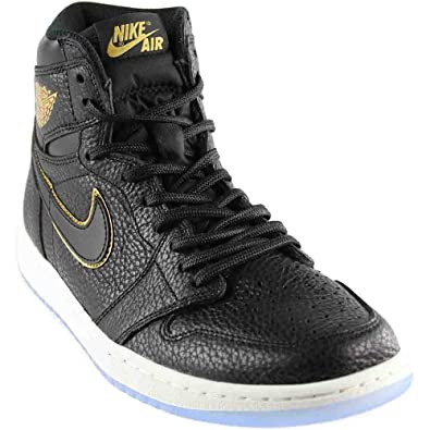 pretty nice 06650 55eae Jordan Retro 1 High Basketball Men s Shoes Size 9 Black Metallic Gold