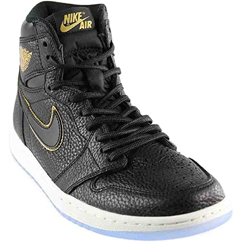8cbb26e9942f Jordan Retro 1 High Basketball Men's Shoes Size 9 Black/Metallic Gold