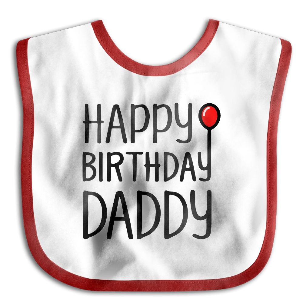 Happy Birthday Daddy Kids Baby Cute Feeding Snap Buttons Cotton Saliva Towel Lunch Bibs Black v5DGFJH.B