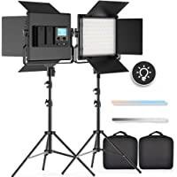 FOSITAN 2 Packs Bi-Color LED Video Light LCD Display Barndoor Kit 3960 Lux CRI 96+ SMD LED Light ( 5 Times as Bright as…