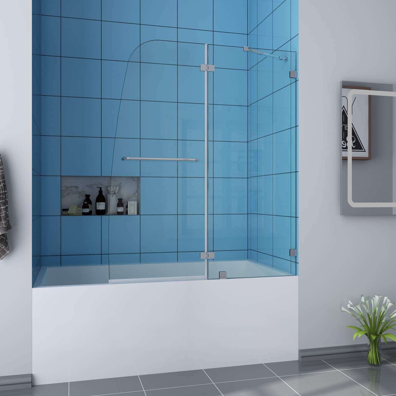 ELEGANT 48'' W x 58'' H Frameless Hinged Tub Shower Door, 5/16'' Clear Glass, Pivot Swing Shower Glass Door Panel, Chrome Finish