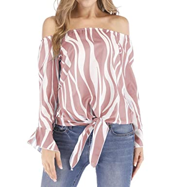 0e3ef52a2b1cd Women s Striped Off Shoulder Bell Sleeve Shirt Tie Knot Casual Blouses Tops