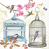 Ideal Home Range 20 Count Boston International 3-Ply Paper Lunch Napkins, Birdcages