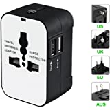Travel Inspira Universal Adapter Power Plug All in One Worldwide Adaptor Phone Wall Charger with Dual USB Charging Ports for USA EU UK AUS