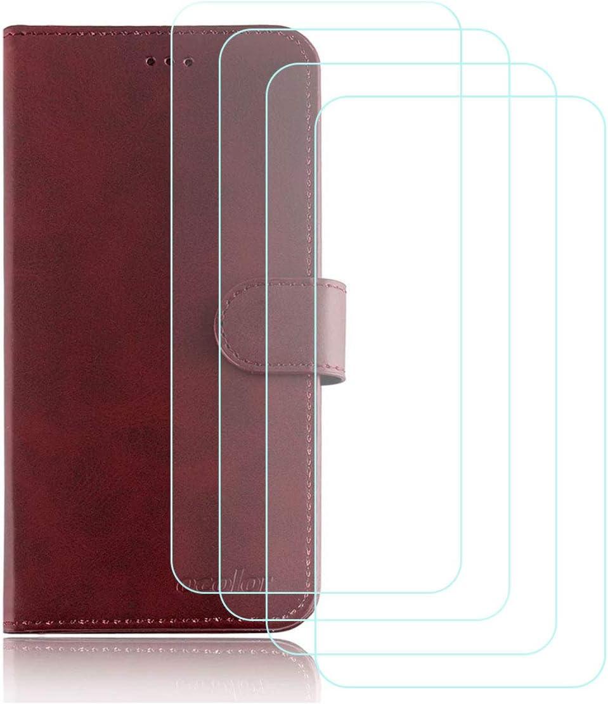 DQG Funda para Elephone P8 Mini Flip Folio Caja PU Cuero Caso Soporte Billetera Tapa Carcasa + [4 Piezas] Cristal Templado Protector de Pantalla para Elephone P8 Mini (5.0