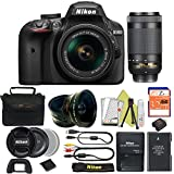 Great Value Bundle for D3400 DSLR – 18-55mm AF-P + 70-300mm AF-P + 32GB Memory + Wide Angle + Telephoto Lens + Case
