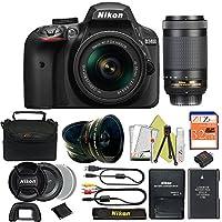 Great Value Bundle for D3400 DSLR – 18-55mm AF-P + 70-300mm AF-P + 32GB Memory + Wide Angle + Telephoto Lens + Case