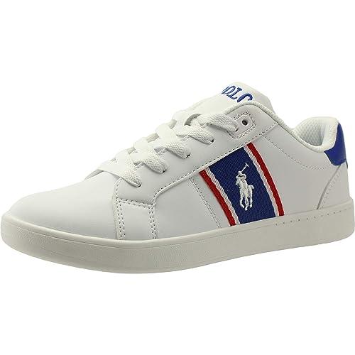 Polo Ralph Lauren Quigley Blanco/Real/Rojo Suave Jóvenes Zapatillas De Deporte Zapatos: Amazon.es: Zapatos y complementos