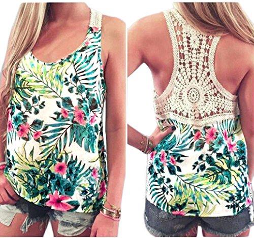 Lisingtool Women's Summer Lace Vest Sleeveless Blouse Casual Tank Tops T-Shirt (X-Large)