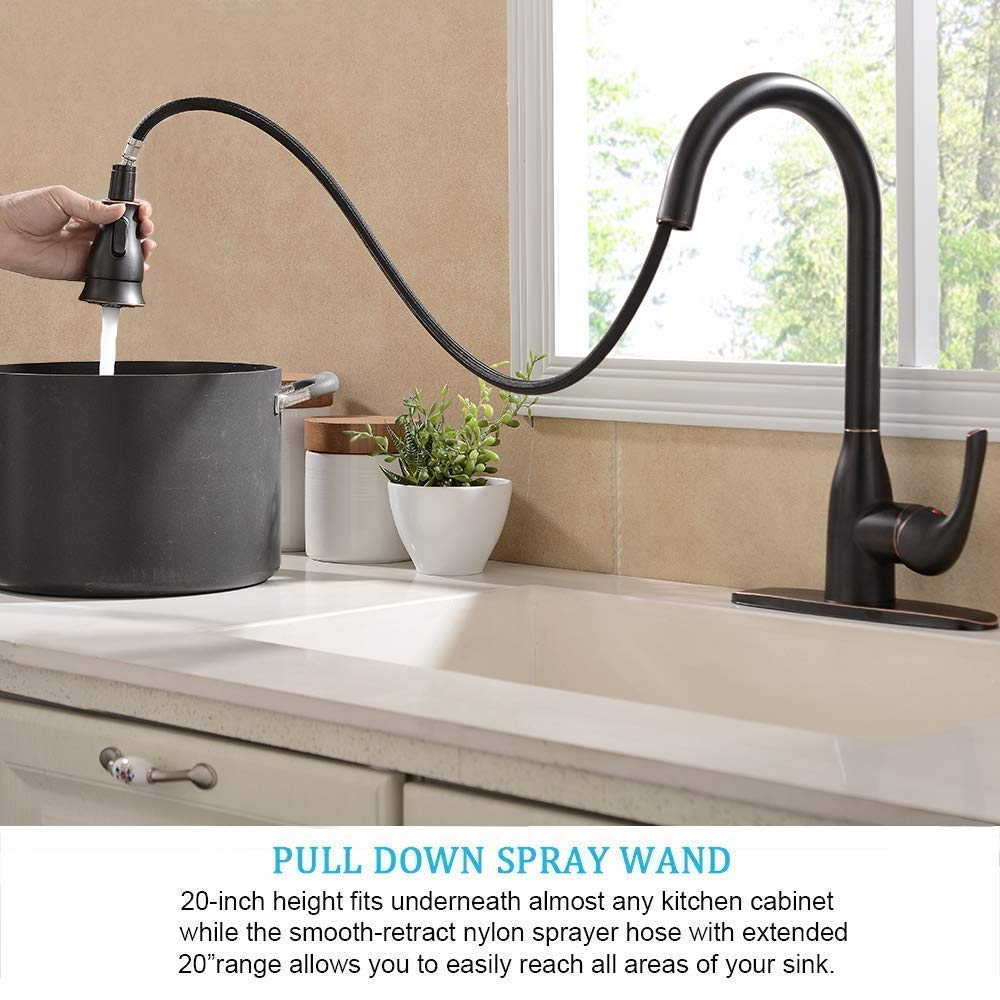 Solid Brass Single Handle Pull Out Sprayer Oil Rubbed Bronze Kitchen Faucet, Pull Down Kitchen Sink Faucet With Deck Plate by Ufaucet (Image #4)