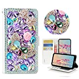 STENES iPhone 6S Plus Case - Stylish - 3D Handmade Crystal Butterfly Bowknot Flowers Wallet Credit Card Slots Fold Stand Leather Cover Case iPhone 6 Plus/iPhone 6S Plus - Light Purple