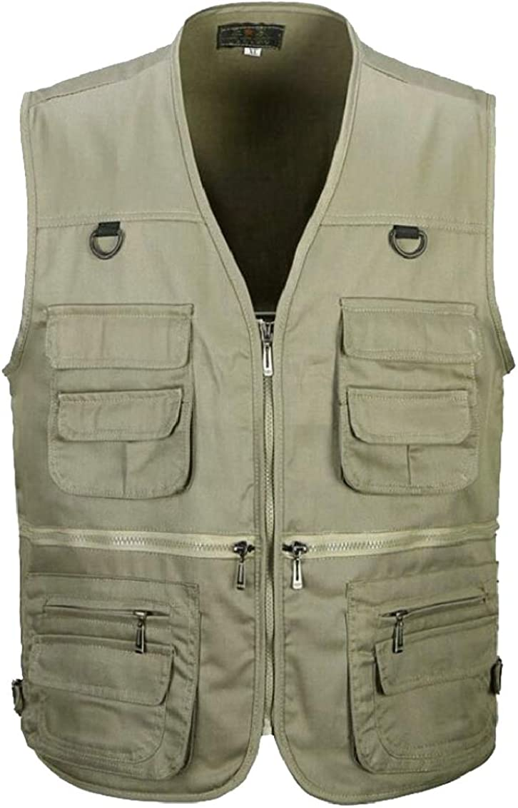 Sweatwater Men Solid Cargo V Neck Mountain Loose Thin Zip Up Multi Pocket Vests