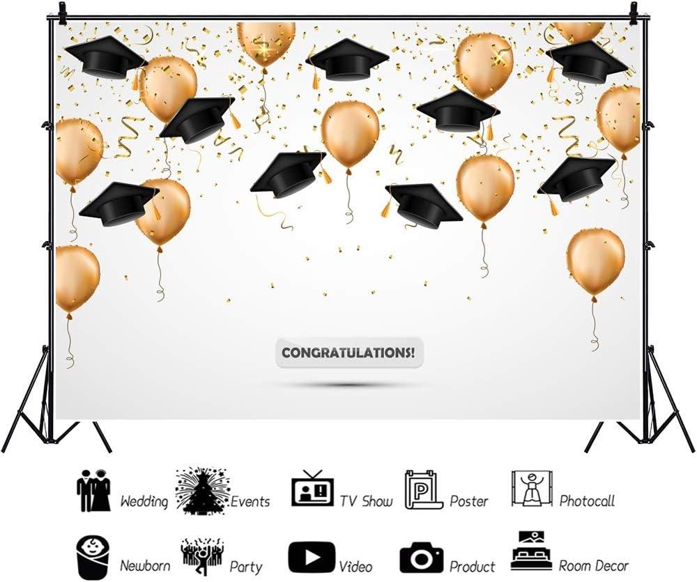 OFILA Graduation Backdrop 12x8ft Graduation Party Photos Background Graduation Cap Photos Balloons Graduates Portraits Congaratution Ceremony Video Studio Props