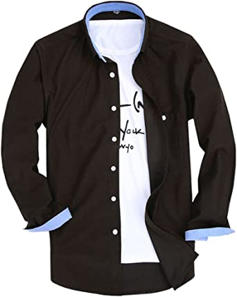 Puerto & Lotus Hombres Slim Fit de Pana Casual Interior Contraste Camisa: Amazon.es: Ropa y accesorios