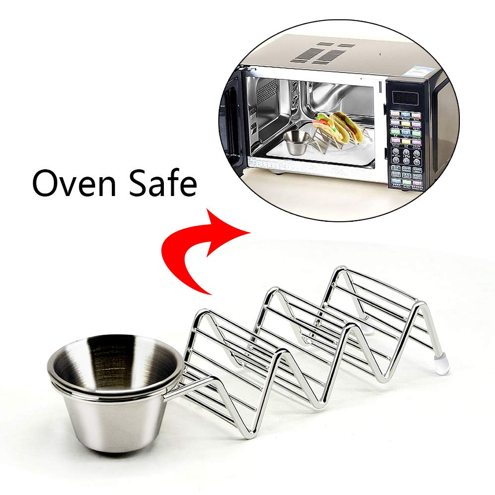 2, Type1 Oven and Dishwasher Safe Sunnyac Taco Holder Premium Stainless Steel Taco Stand with Detachable Cup Each Perfect to Hold 3 Hard and Soft Shell Burritos