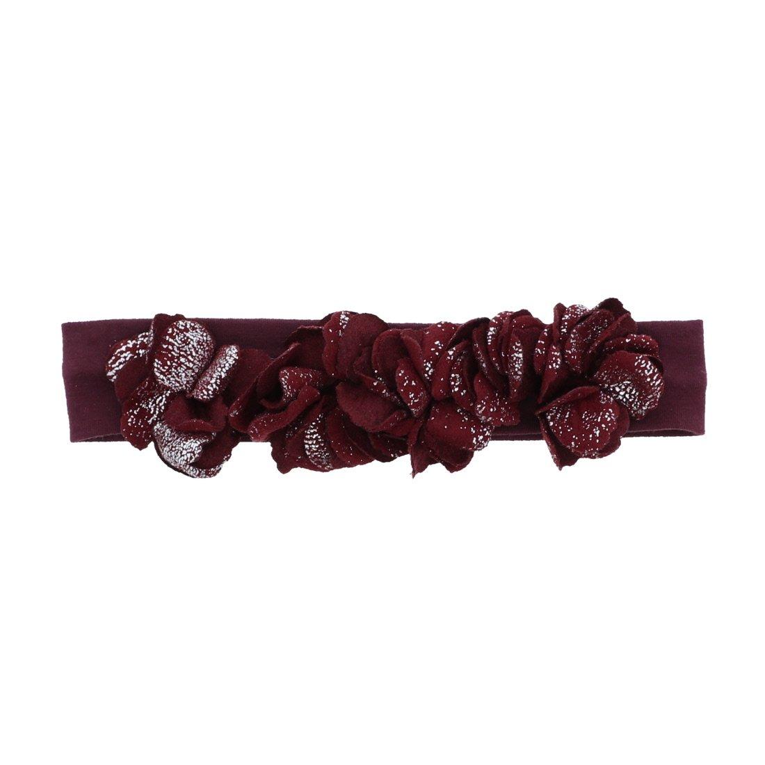 Mauve Metallic Flowers Baby Headband Hairband for Girls