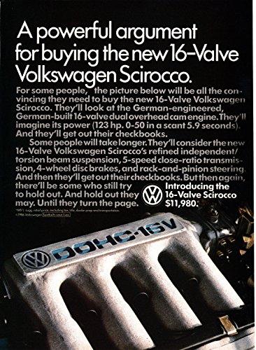 1986 VW Scirocco-16 Valve Engine 123 Horse Power-Volkswagen Original Magazine Ad