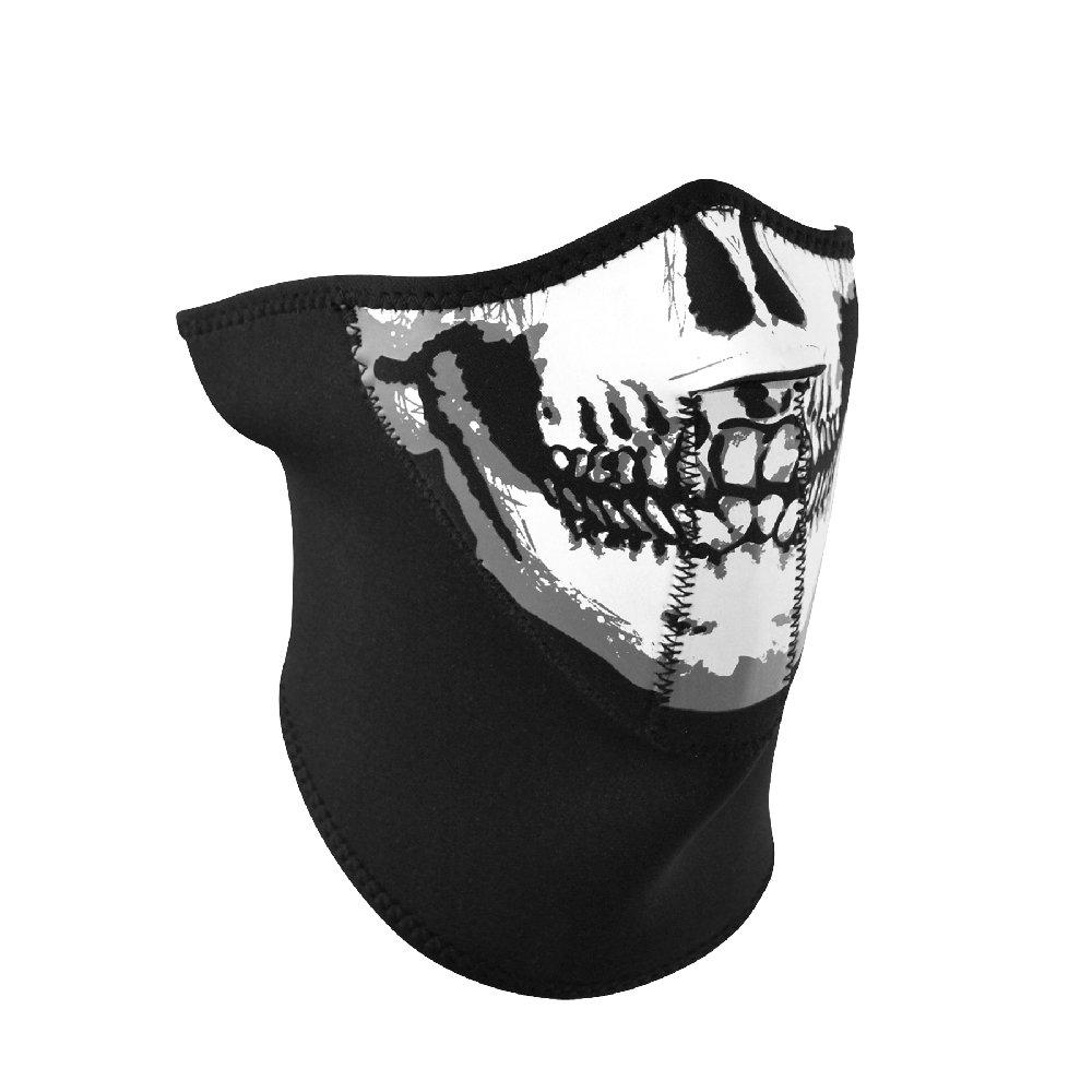 Zanheadgear WNFM002H3 3-Panel Neoprene Half Face Mask, Skull Face