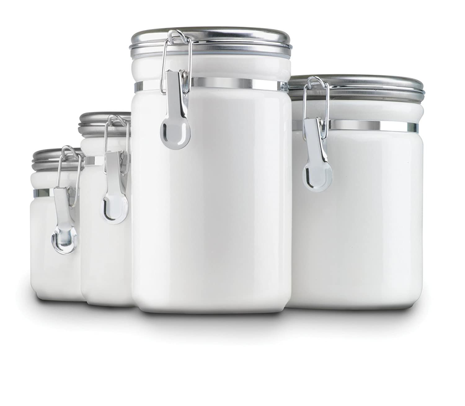Amazon.com: Anchor Hocking 4 Piece Ceramic Canister Set With Clamp Top Lid,  White: Kitchen Storage And Organization Product Sets: Kitchen U0026 Dining