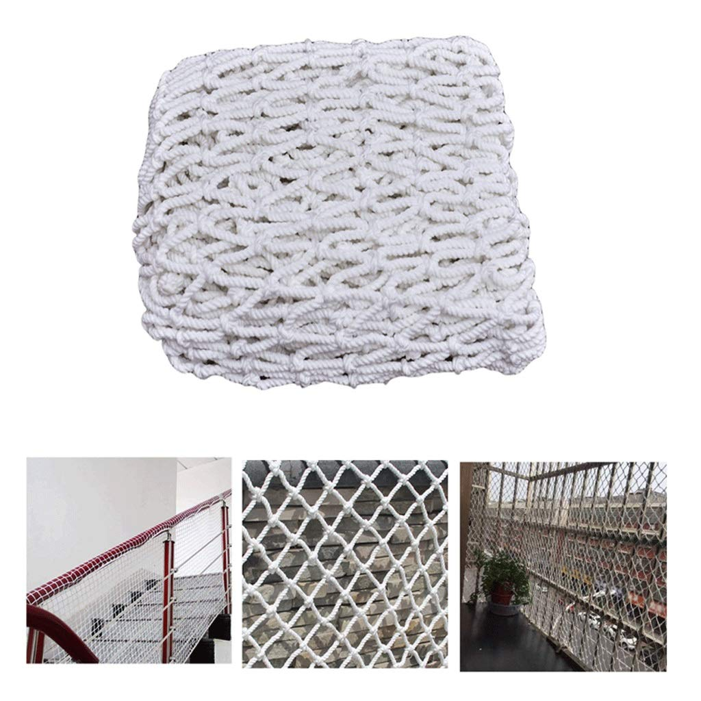 Building Safety Net Rope Child Stair Protection Net Balcony Anti-Fall Net Anti-cat Net Nylon Net Wall Decoration Net White (mesh 3cm / Rope Thickness 4mm) (Size : 1x8m)