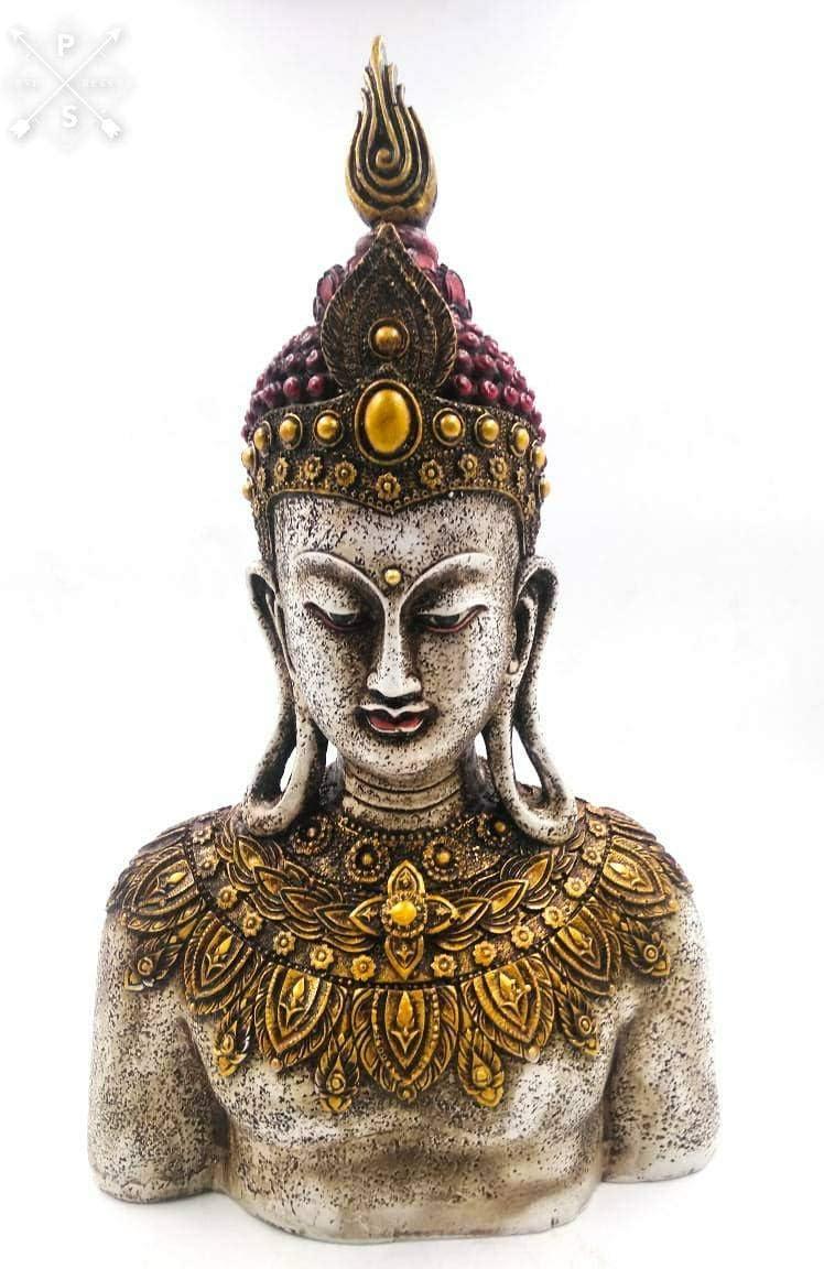 Shri Handicrafts 12 Handmade Buddha Carving Resin Statue Table Desk Decor Meditating Idol Gifts Antique Design for Home Decoration Living Room Bedroom Gold