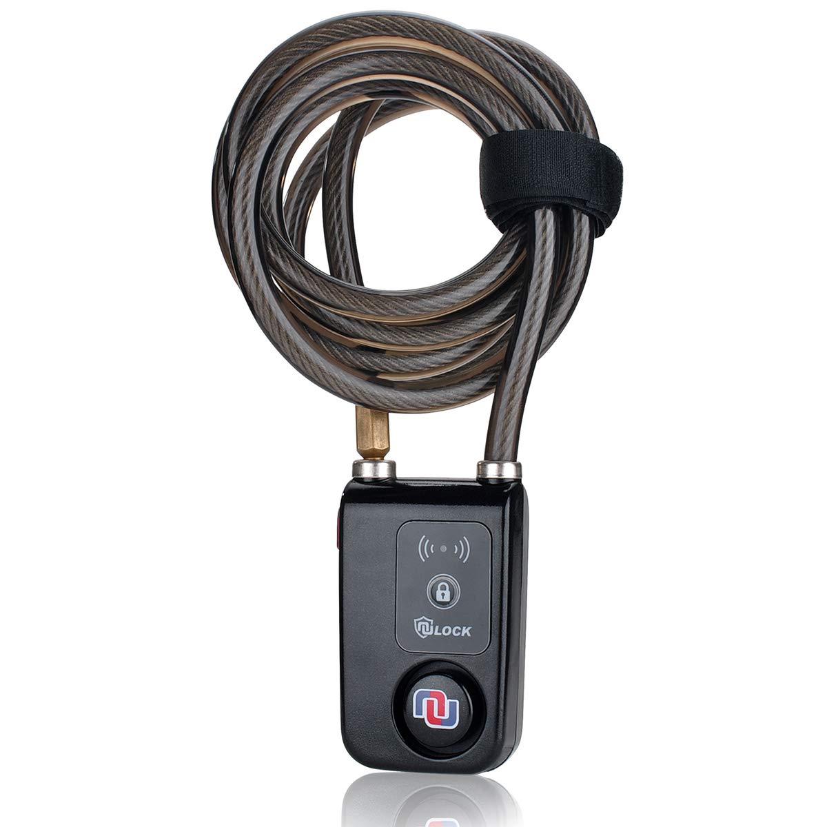 Nulock Keyless Bluetooth Bike/Motorcycle/Gate Lock IP44 Splash-Proof Cycling Lock with 110db Alarm, 0.38'' Diameter 71-inch Braided Steel Cable