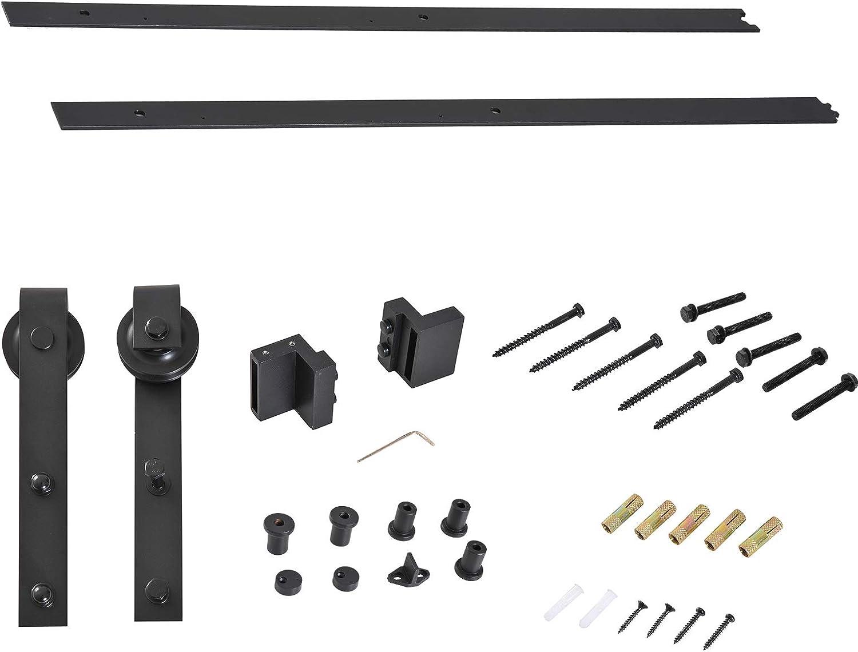 HOMCOM Puertas Kit de Accesorios para Puerta Correderas de Granero Puerta Montaje Juego de Piezas de Metal Rieles Rodillo Acero de Carbono
