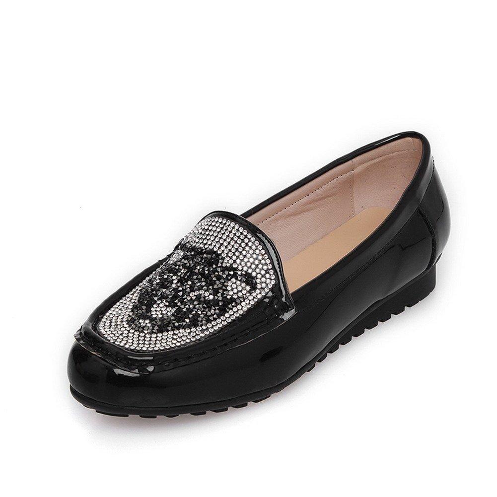VogueZone009 Females Shiny Closed Round Toe Cow Leather Flats with Rhinestones, Black, 5.5 B(M) US