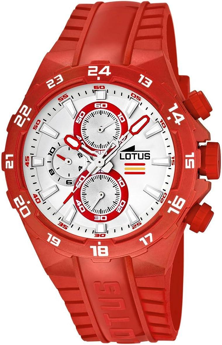 Lotus Champion 15800-2 - Reloj cronógrafo de Cuarzo para Hombre, Correa de plástico Color Rojo (cronómetro, Agujas luminiscentes)