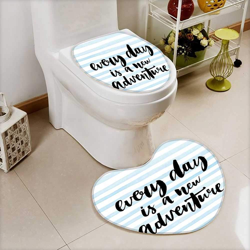2 Piece Anti-Slip Toilet mat Every Day is a New Adventure Calligraphy Text Watercolor Stripes Print Light Blue Anti-Slip Water Absorption by L-QN