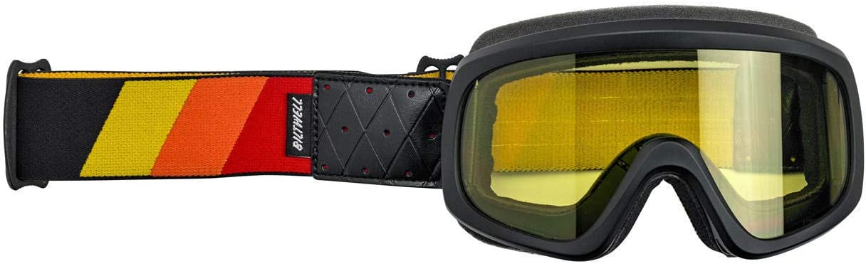 Biltwell O2-TRI-BK-RD Unisex-Adult Overland 2.0 Tri-Stripe Goggle-Satin Black Red/Yellow/Orange, One Size